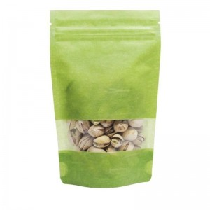 Non-Printing Resealable Green Rice Paper Bags With Window