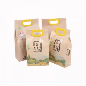 Wholesale price customized logo printing durable moisture proof size 2.5kg 5kg kraft paper rice packing bag