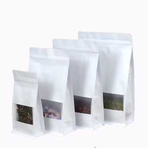 White Paper Packaging bag Frosted window stand up side gusset Zipper Packing Bags Zip Lock Retailer Package