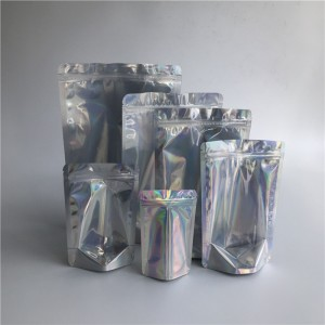 Wholesale Resealable Transparent Front Holographic Stand Up Pouches Laminated Plastic Cosmetic Zipper Bags Packaging In Stock