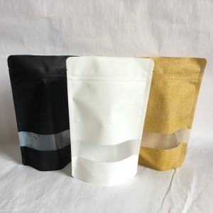 Recyclable PET/PE high barrier stand up zipper pouch for food packaging with window